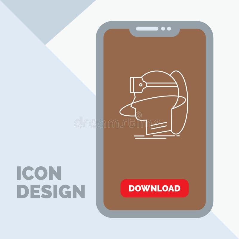 menschlich, Mann, Wirklichkeit, Benutzer, virtuell, vr Linie Ikone im Mobile für Download-Seite stock abbildung