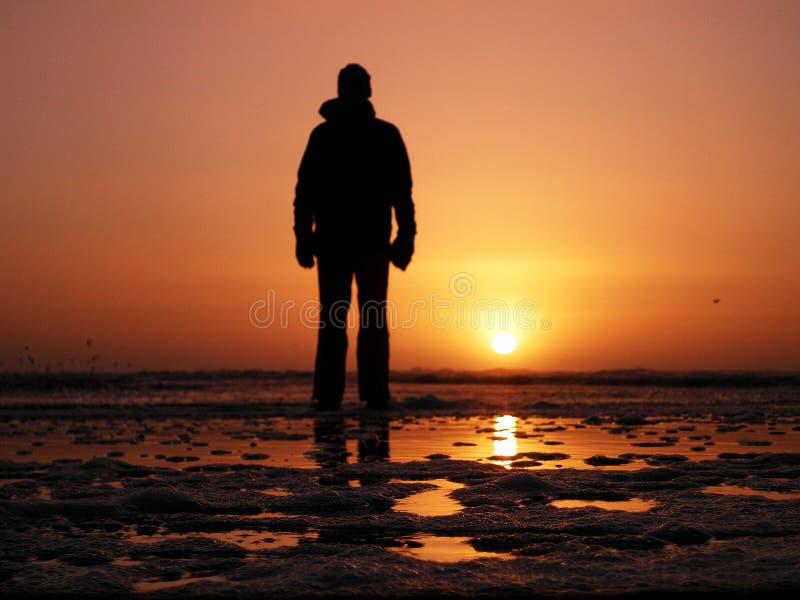Menschlich steht am Strand und schaut zum Wasser und zum Sonnenaufgang lizenzfreie stockfotos