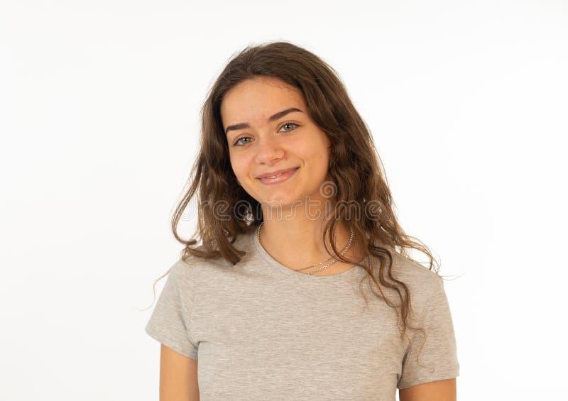 Menschliche Ausdrücke und Gefühle Porträt des jungen attraktiven Mädchens mit lächelndem glücklichem Gesicht stockfotos