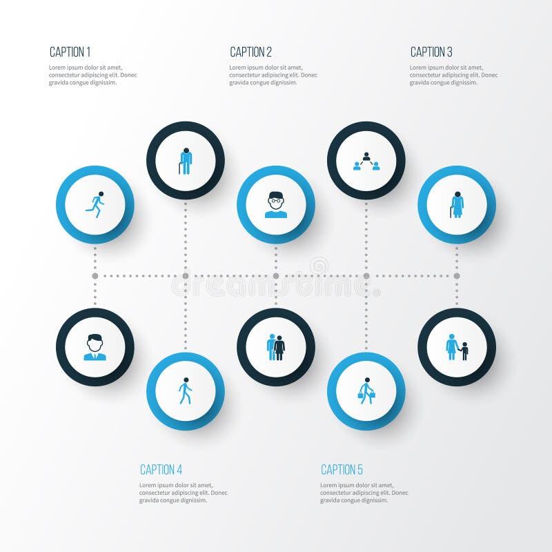 Menschliche bunte Ikonen eingestellt Sammlung Kontakt, alt, Arbeitskraft und andere Elemente Schließt auch Symbole wie Firma ein vektor abbildung
