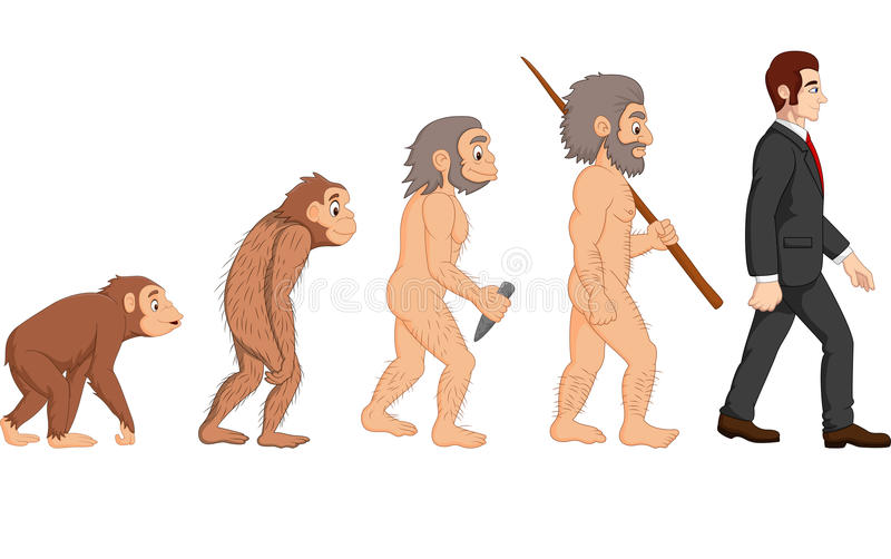 Menschliche Entwicklung der Karikatur vektor abbildung