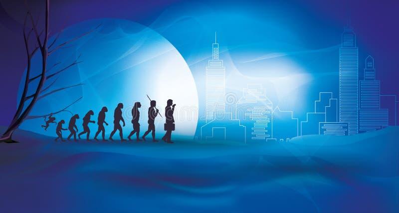 Menschliche Entwicklung mit Geschäftsmann - Übergang von der Natur zur Stadt und zur Technologie lizenzfreie abbildung