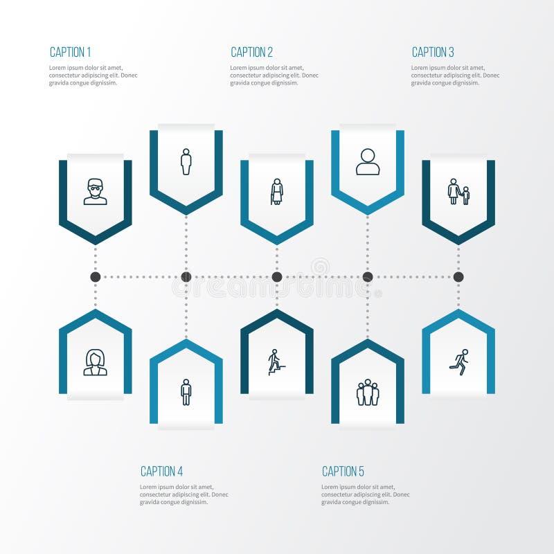 Menschliche Entwurfs-Ikonen eingestellt Sammlung Benutzer-, Team-, Kletternund anderemelemente Schließt auch Symbole wie Treppe e vektor abbildung