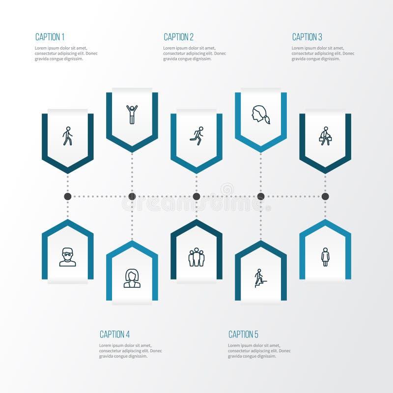 Menschliche Entwurfs-Ikonen eingestellt Sammlung Kopf, Betrieb, intelligenter Mann und andere Elemente Schließt auch Symbole wie  stock abbildung