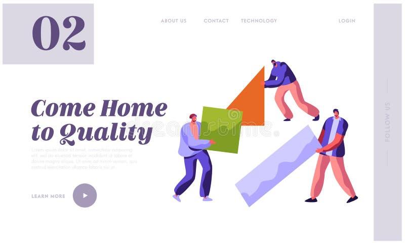 Menschliche Erbauer-Construction Color Home-Landungs-Seite Mann im Prozessjob Leute Carry New Part Material für Gestalt-Arbeit pr vektor abbildung