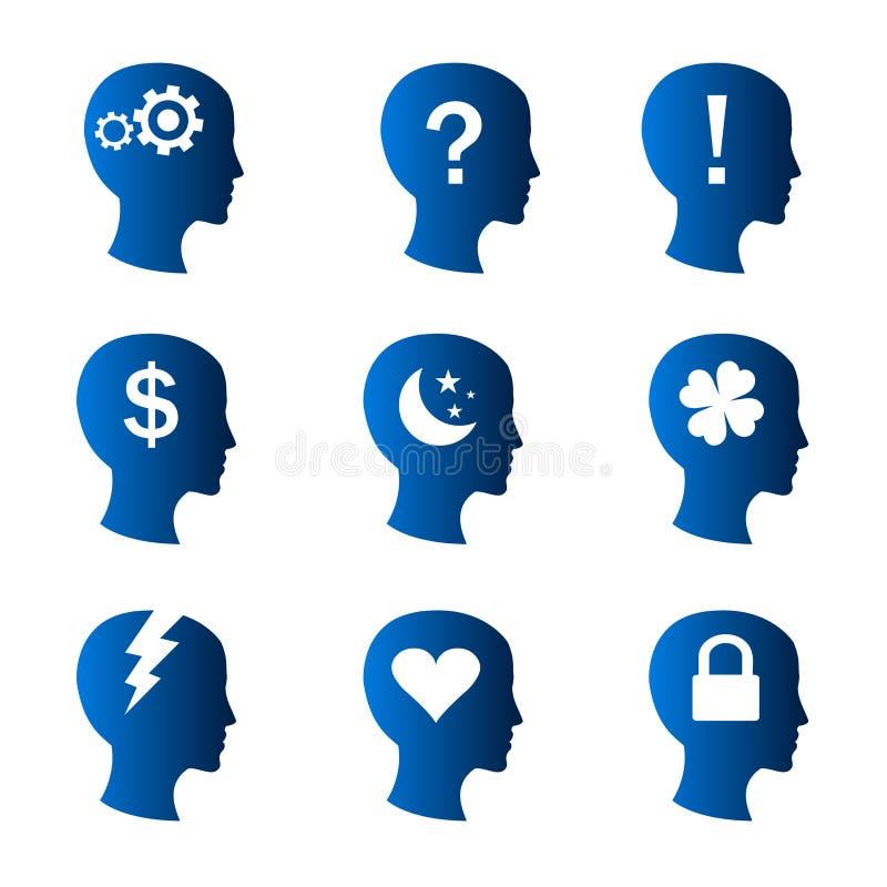 Menschliche Gedanken und Stimmungsikonen vektor abbildung