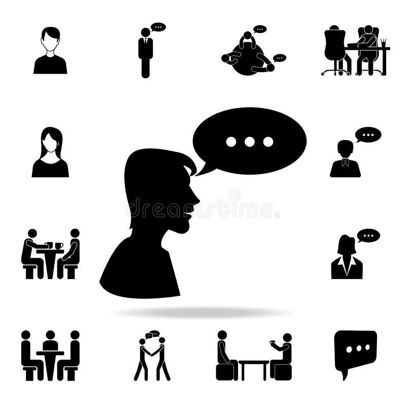 menschliche Gesprächsikone Ausführlicher Satz Gesprächsikonen Erstklassiges Grafikdesign Eine der Sammlungsikonen für Website, We lizenzfreie abbildung