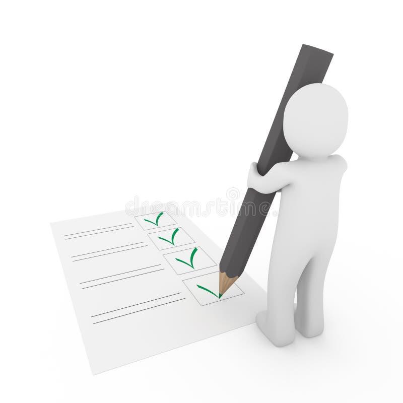 menschliche Graufeder des Checks 3d lizenzfreie abbildung