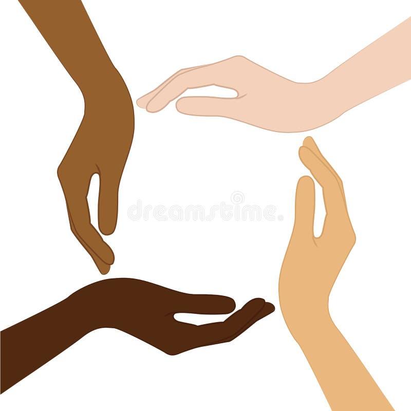 Menschliche Hände bei der unterschiedlichen Hautfarbtoleranz und beim Antirassismuskonzept vektor abbildung