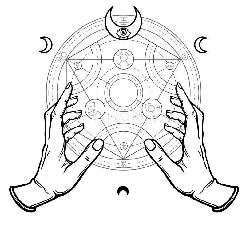 Menschliche Hände berühren einen alchemical Kreis Mystische Symbole, heilige Geometrie lizenzfreie abbildung