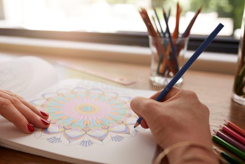 Menschliche Hände, die in erwachsenes Malbuch zeichnen stockbild