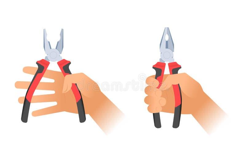 Menschliche Hände, die zwei Paare Zangen halten Reparieren Sie Werkzeug illustratio stock abbildung