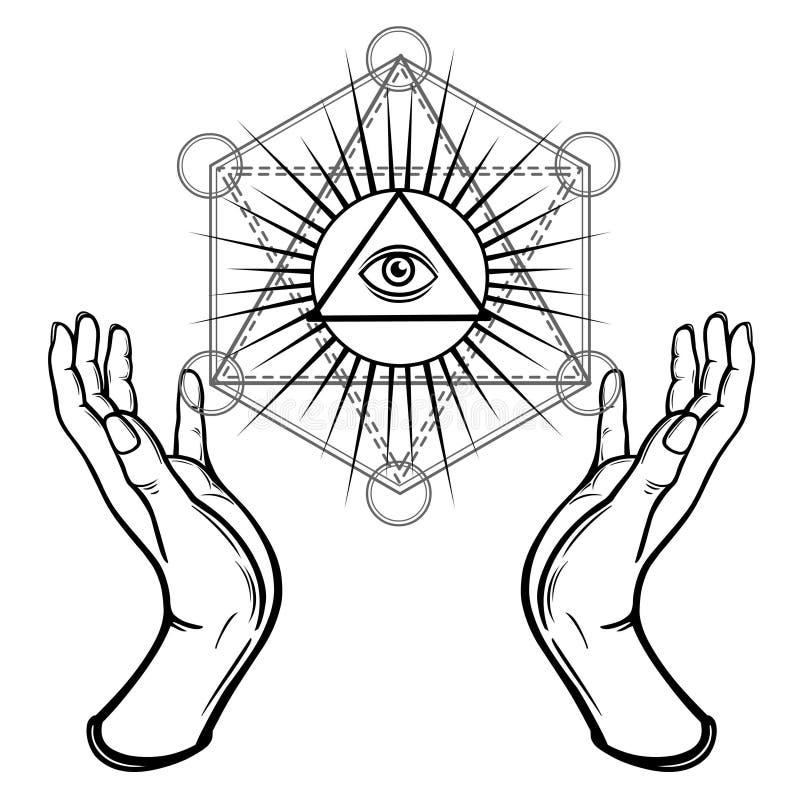 Menschliche Hände halten das glänzende Dreieck, ein Vorsehungsauge Heilige Geometrie, mystisches Symbol vektor abbildung