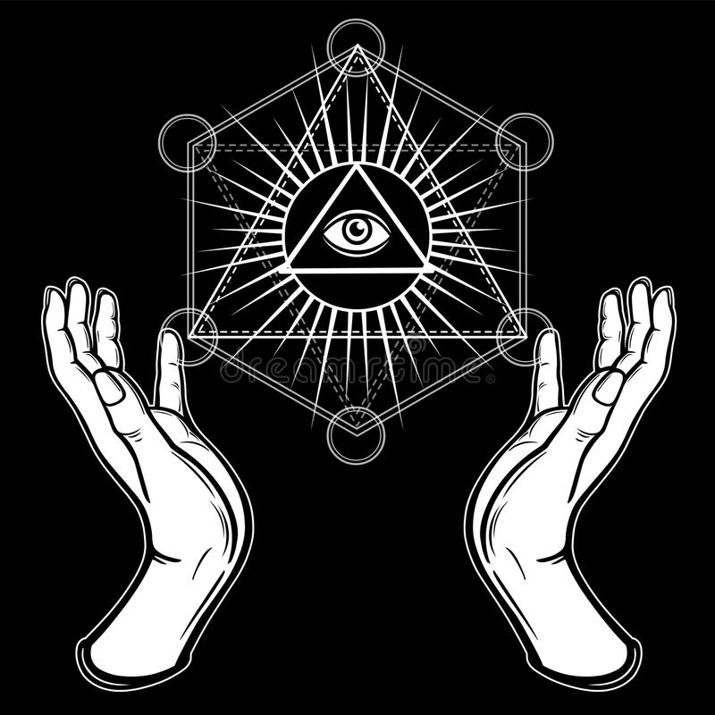 Menschliche Hände halten das glänzende Dreieck, ein Vorsehungsauge Heilige Geometrie, mystisches Symbol stock abbildung