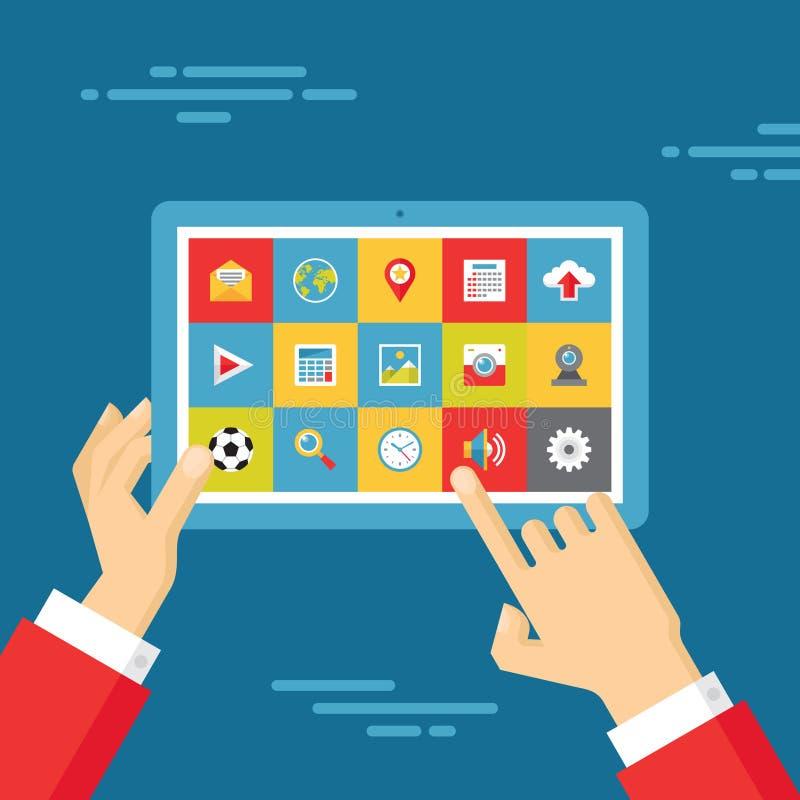Menschliche Hände mit Tablet und Ikonen eingestellt - Geschäfts-Tendenz-Illustration in der flachen Design-Art lizenzfreie abbildung