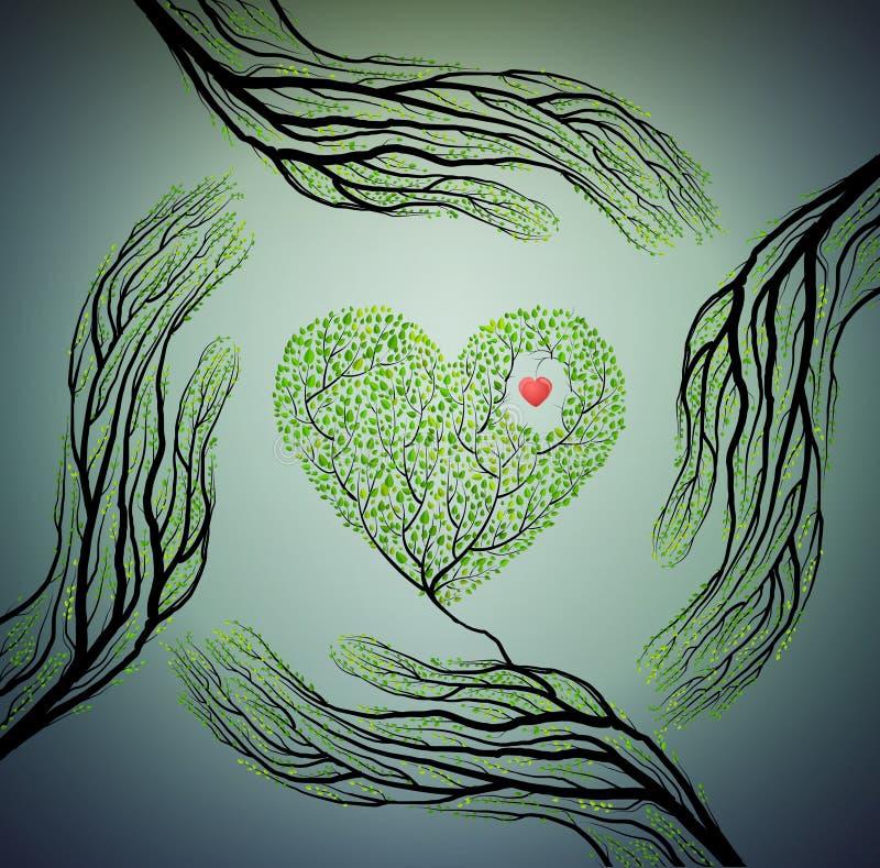 Menschliche Hände sehen wie Baumaste aus und halten Baumherz, lieben Naturkonzept, schützen Baumidee, stock abbildung