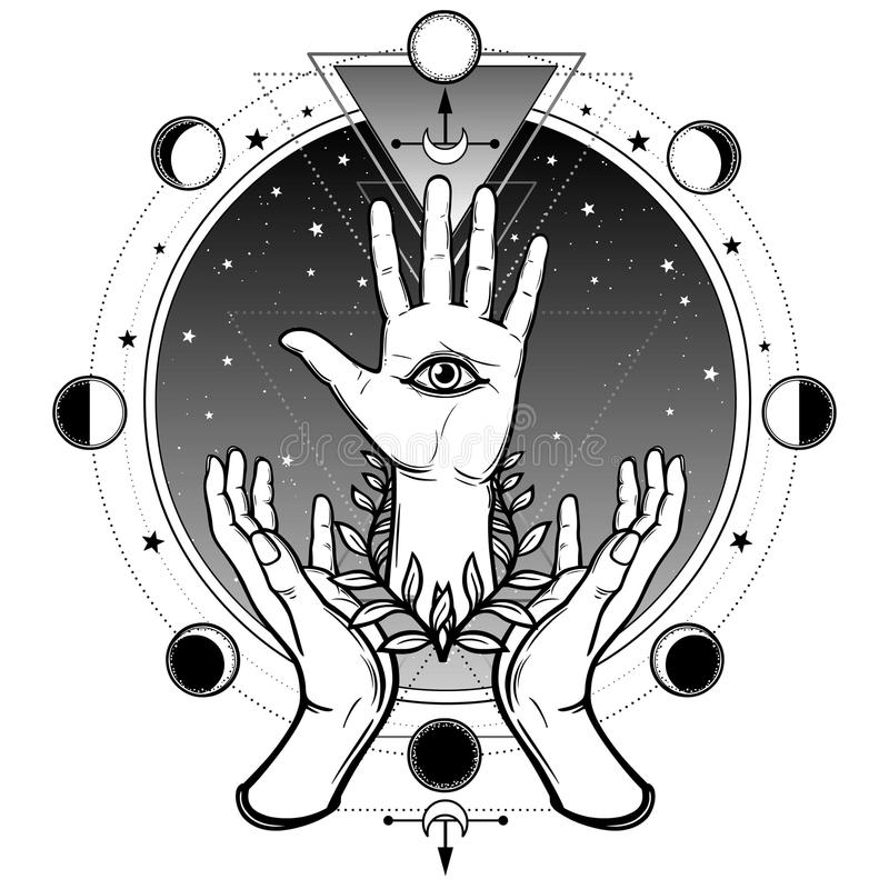 Menschliche Hände stützen eine göttliche Palme mit einem gesamt-sehenden Auge stock abbildung