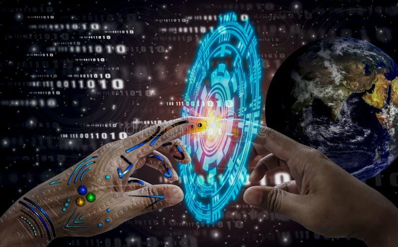 Menschliche Hand der Roboterhandnote, Weltraum- und Technologieikonen des Hintergrundes, Geist der Welt, Wissenschaftsförderung u stockfotografie