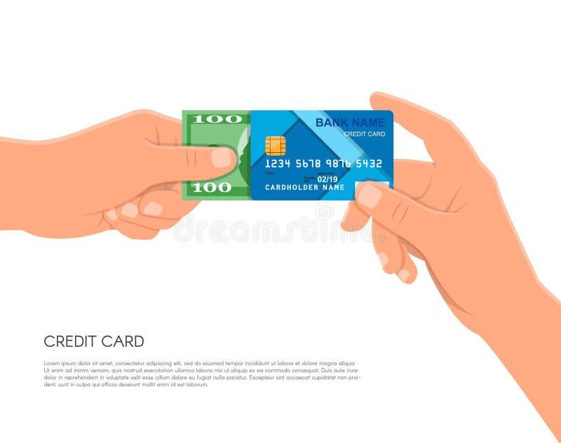 Menschliche Hand, die Bankkreditkarte und -Bargeld hält Finanzgeschäftszahlungskonzept-Vektorillustration in der Ebene lizenzfreie abbildung