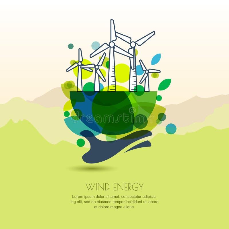 Menschliche Hand, die Erde mit Windkraftanlagen hält Vektorentwurf illu lizenzfreie abbildung