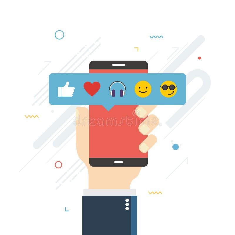 Menschliche Hand, die Handy mit Emoticons Feedback des Sozialen Netzes hält lizenzfreie abbildung