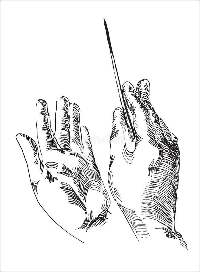 Menschliche Hand, die Leiter ` s Taktstock hält lizenzfreies stockbild