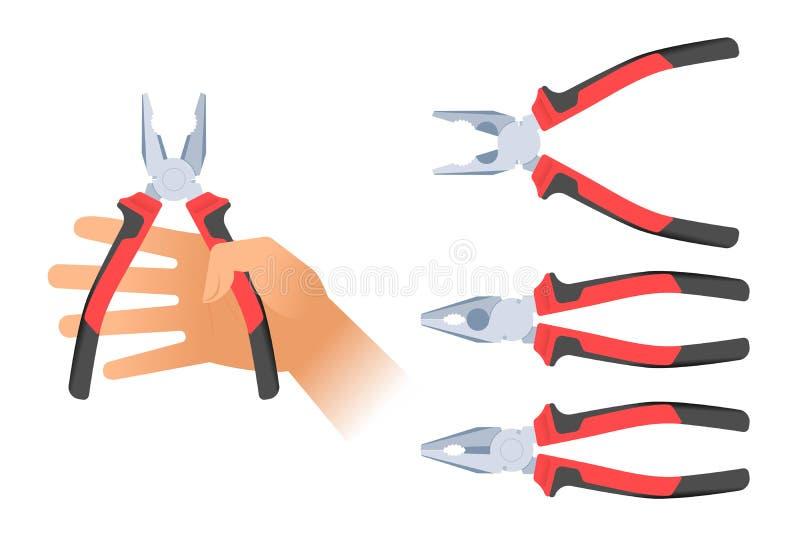 Menschliche Hand hält ein Paar Zangen Reparieren Sie Werkzeugillustration stock abbildung