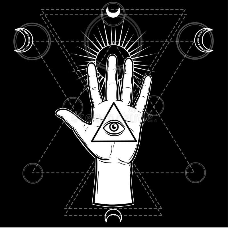 Menschliche Hand hält eine heilige Pyramide des Wissens, ein gesamt-sehendes Auge lizenzfreie abbildung