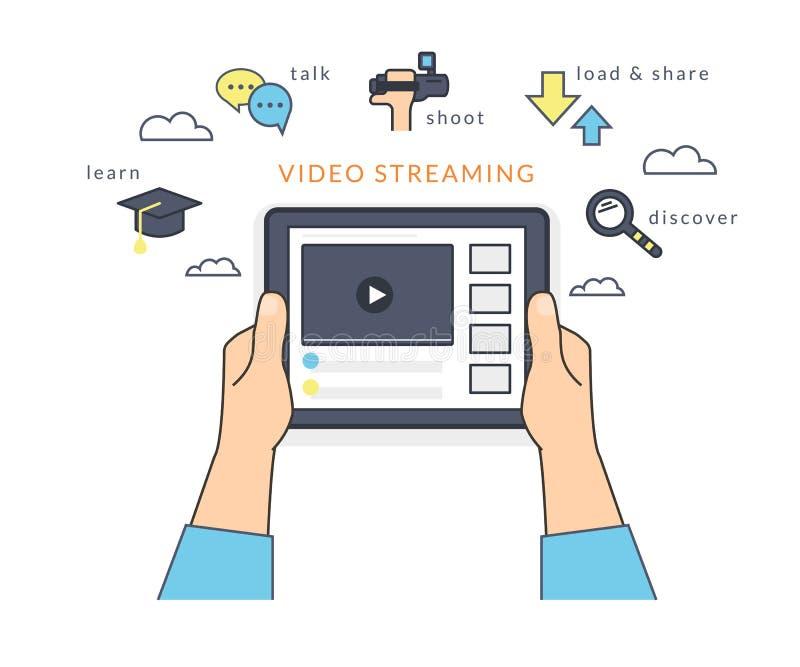 Menschliche Hand hält einen Tabletten-PC und das Aufpassen eines Videos online auf dem Schirm vektor abbildung