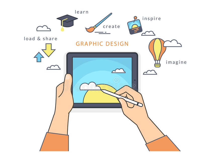 Menschliche Hand hält einen Tabletten-PC und zeichnet ein Bild auf dem Schirm lizenzfreie abbildung