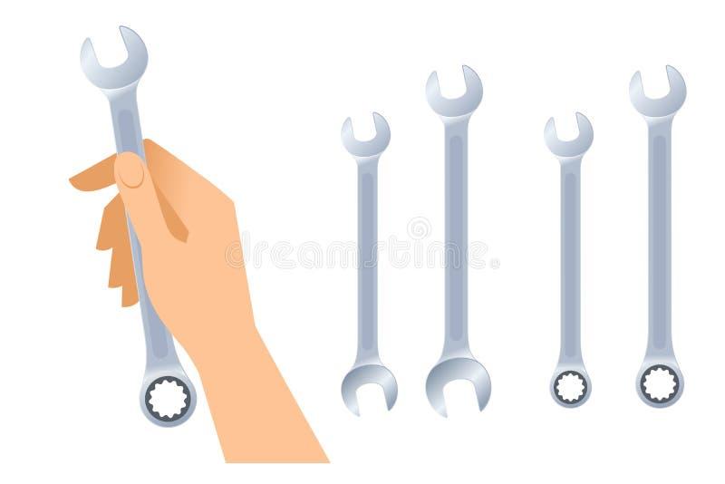 Menschliche Hand hält Schlüssel Metallischer Schlüsselsatz des Chroms lizenzfreie abbildung
