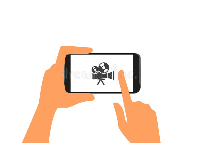 Menschliche Hand hält schwarzen Smartphone mit Kamera lizenzfreie abbildung