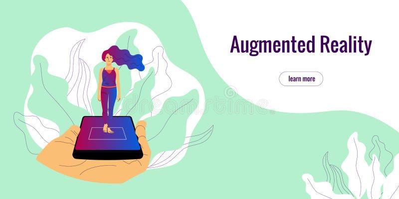 Menschliche Hand hält Smartphone mit vergrößertem Wirklichkeit App auf Schirmvertretungshologramm einer Frau stock abbildung