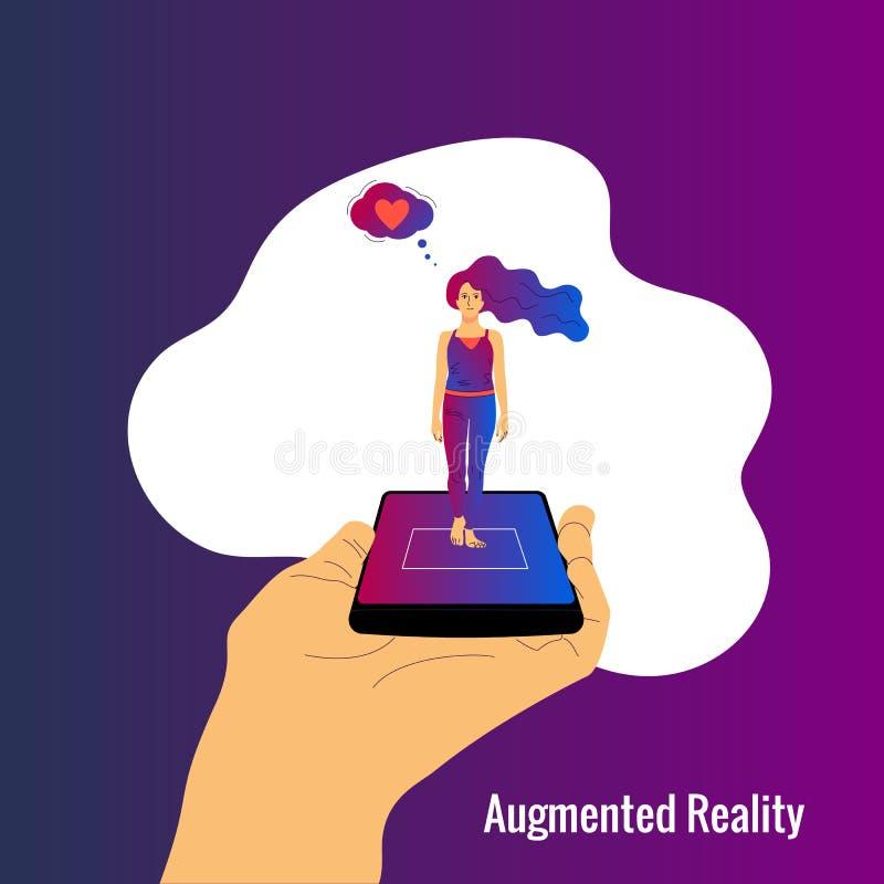 Menschliche Hand hält Smartphone mit vergrößertem Wirklichkeit App auf Schirmvertretungshologramm einer Frau lizenzfreie abbildung