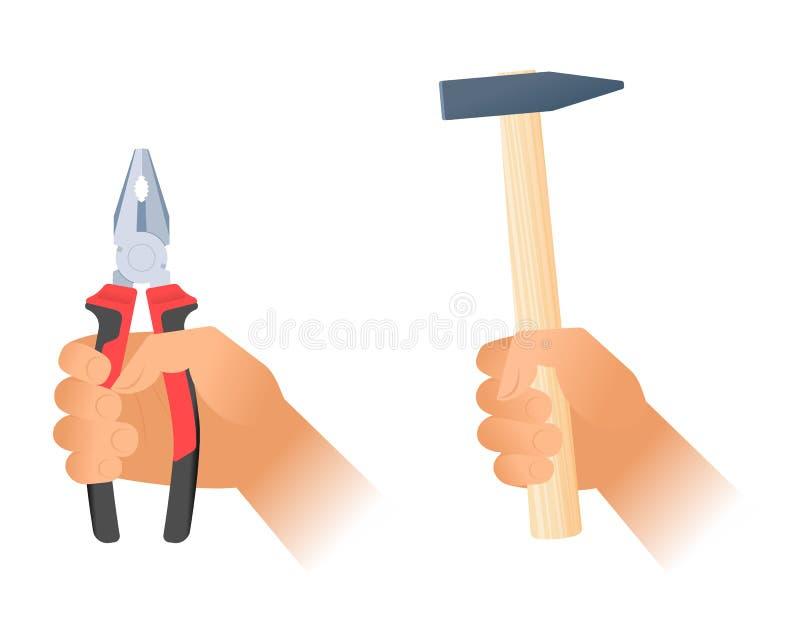 Menschliche Hand hält Zangen und Hummer mit hölzernem Griff lizenzfreie abbildung