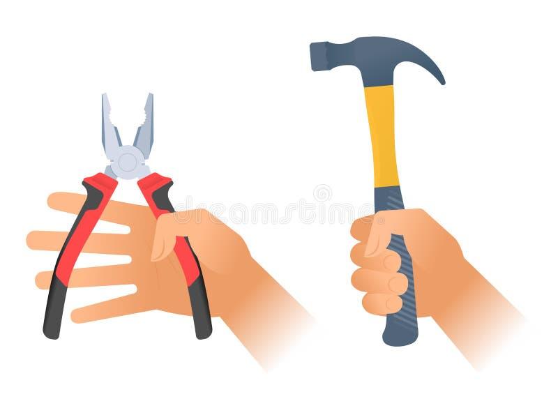 Menschliche Hand hält Zangen und Hummer mit Kunststoffgriff vektor abbildung