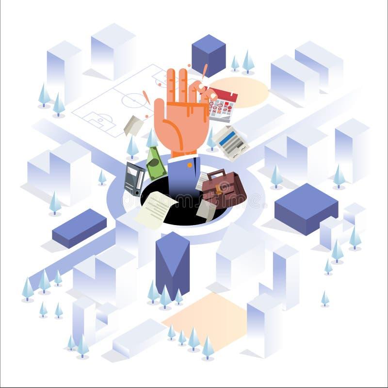 Menschliche Hand mit Büroelement im großen Loch auf der Mitte von Großstadt beschäftigter Mann oder hart arbeitend isometrische A vektor abbildung