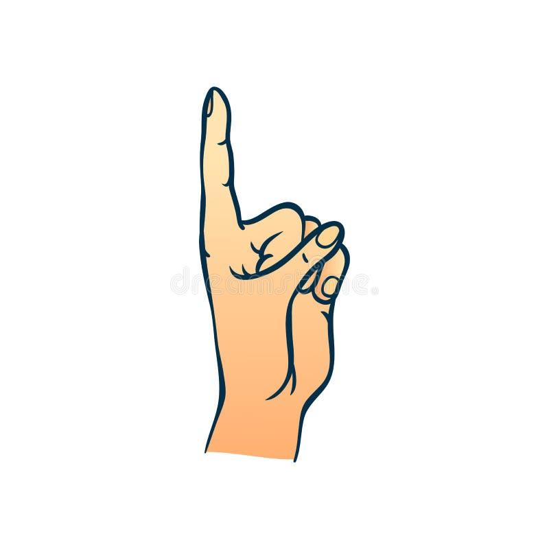 Menschliche Hand mit dem Zeigefinger herauf Geste in der Skizzenart lokalisiert auf weißem Hintergrund stock abbildung