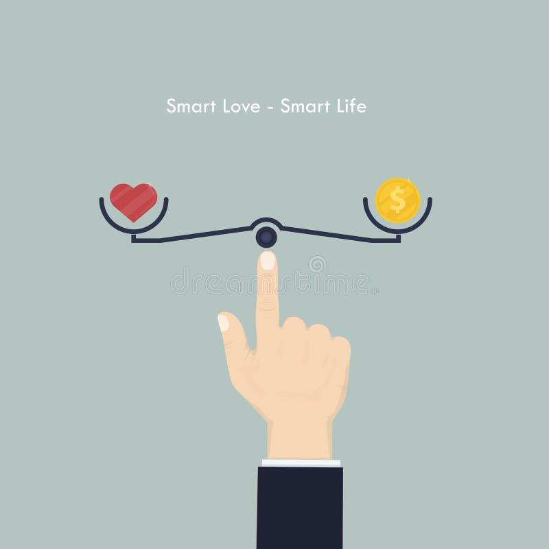 Menschliche Hand mit Herzzeichen und Geld prägen Ikone Intelligente Liebe und Inspektion vektor abbildung
