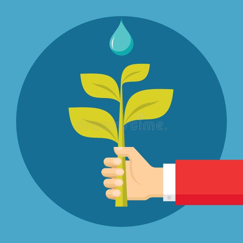 Menschliche Hand mit Sprössling und Tropfen - ökologische Natur-Illustration in der flachen Design-Art lizenzfreie abbildung