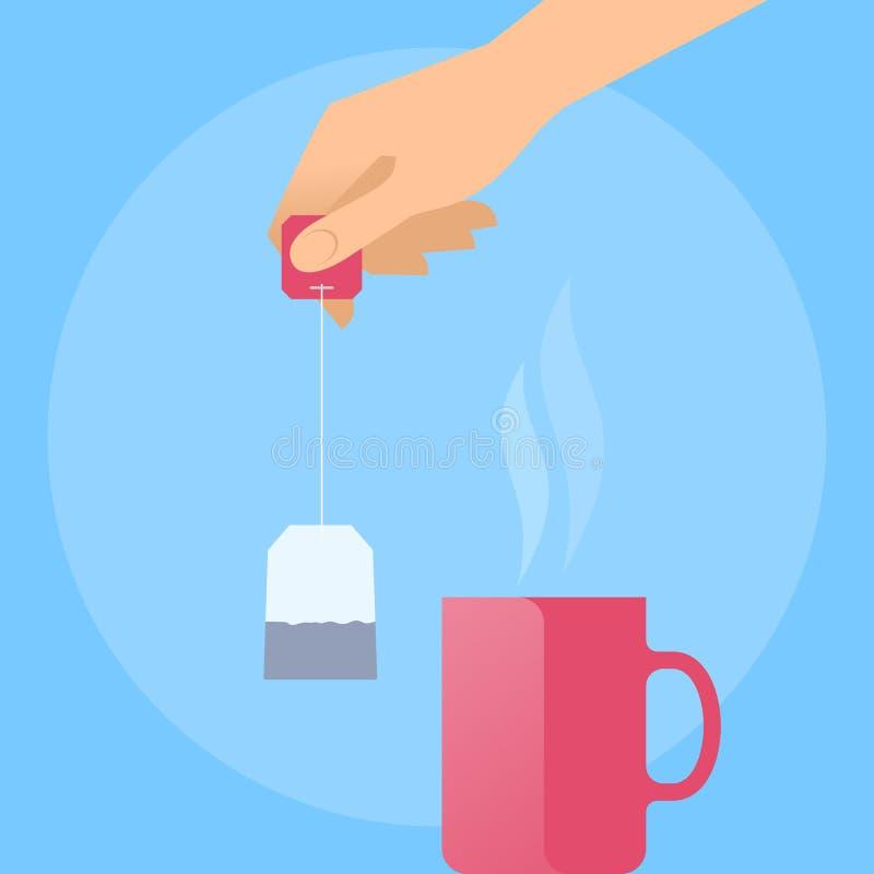 Menschliche Hand mit Teebeutel und heißem rotem Becher lizenzfreie abbildung