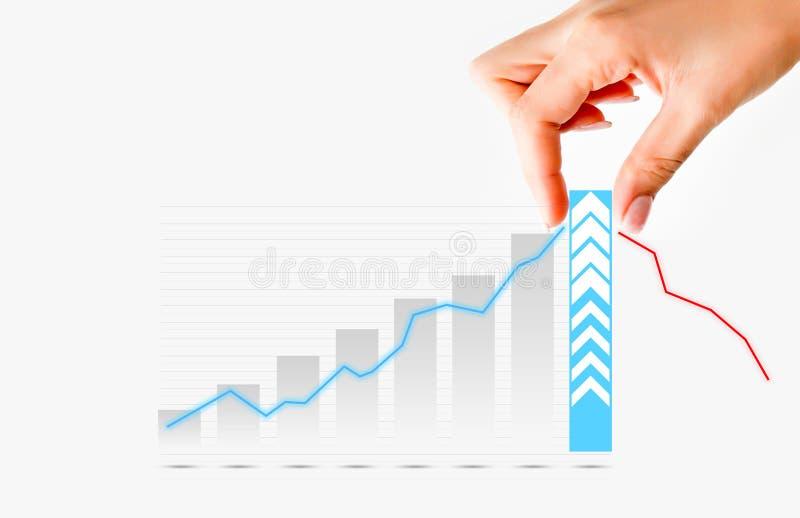 Menschliche Hand, welche die Diagrammstange vorschlägt Zunahme von Verkäufen oder von Geschäft zieht lizenzfreie stockbilder
