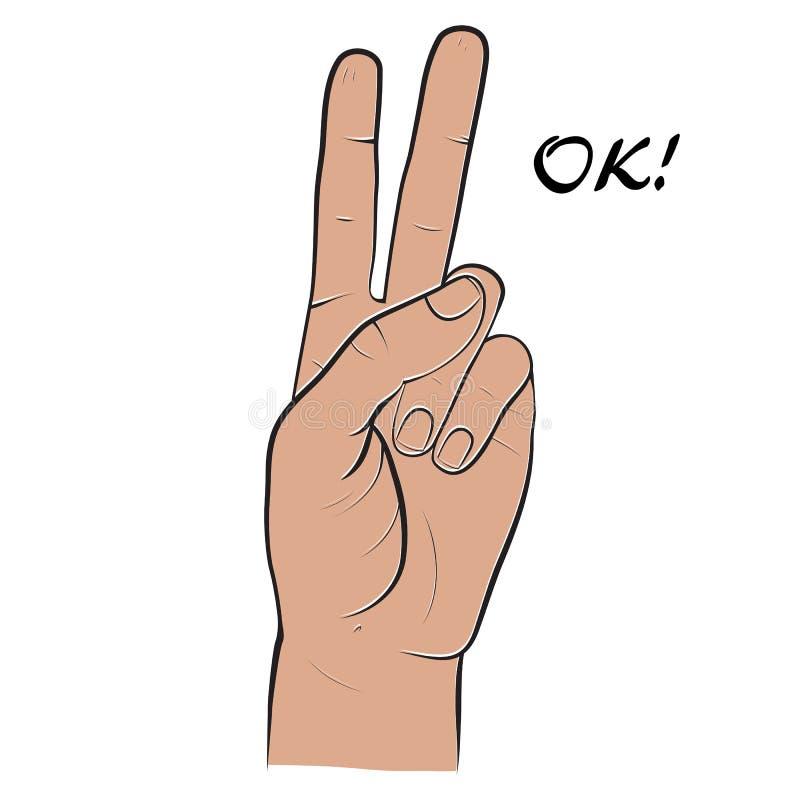 Menschliche Hand, zwei Finger, Finger, die Symbol eines Friedens, Vic zeigen lizenzfreie abbildung