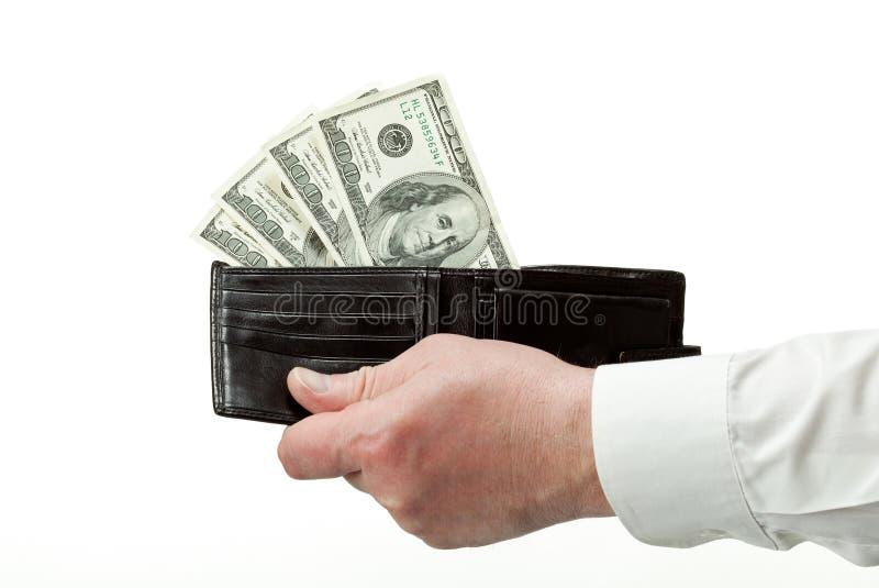 Menschliche Handholdingmappe mit Dollar lizenzfreie stockfotos
