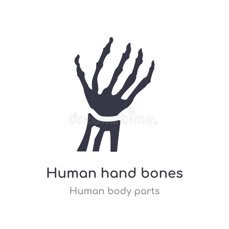 menschliche Handknochen-Entwurfsikone lokalisierte Linie Vektorillustration von der menschlichen K?rperteilsammlung menschliche H stock abbildung
