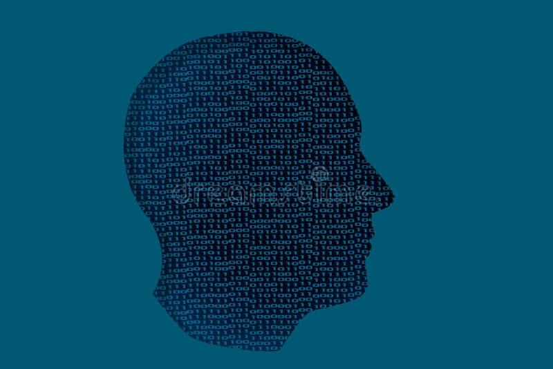 Menschliche Haupt-withones und binärer digitale Code der null stock abbildung