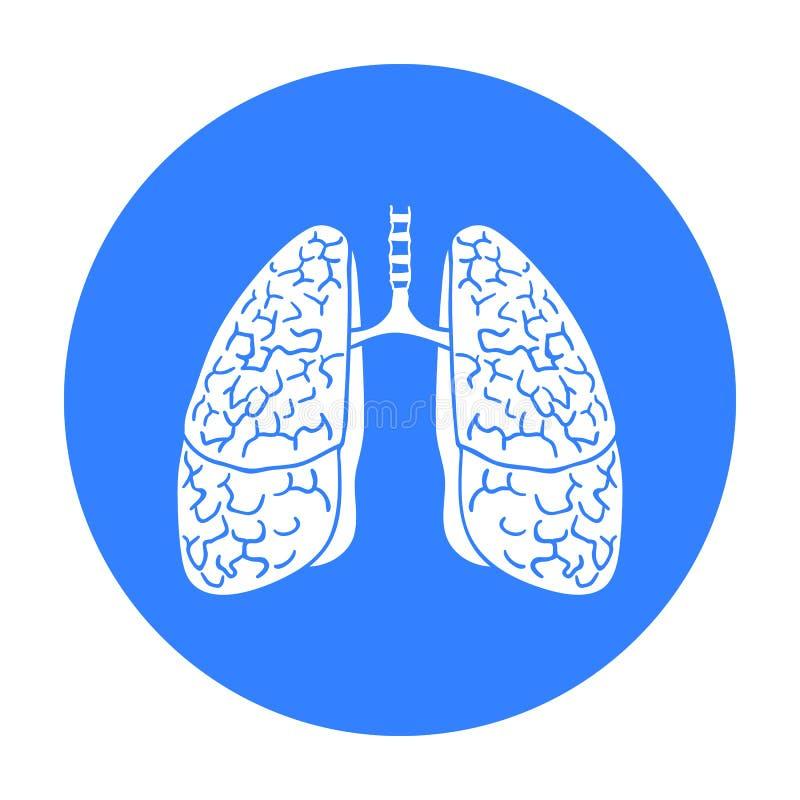 Menschliche Lungeikone in der schwarzen Art lokalisiert auf weißem Hintergrund Symbolvorrat-Vektorillustration der menschlichen O stock abbildung