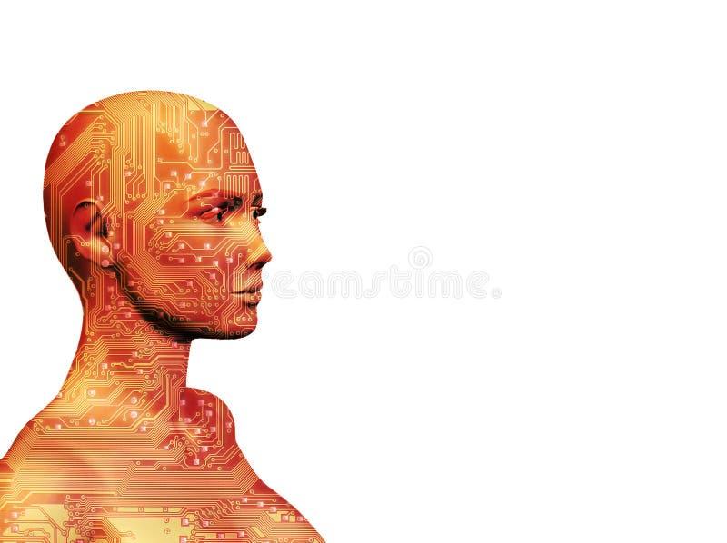 Menschliche Maschinen-Rot lizenzfreie abbildung