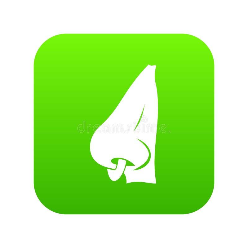 Menschliche Nase mit digitalem Grün der piercing Ikone vektor abbildung