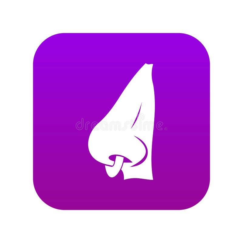 Menschliche Nase mit durchbohrendem digitalem Purpur der Ikone vektor abbildung